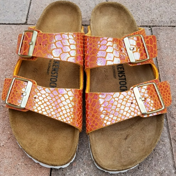 29cba304c52 Birkenstock Shoes - Like New Birkenstock Arizona Orange Snake Sandals